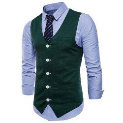 Plus Size Men Color Cotton Suit Vest -