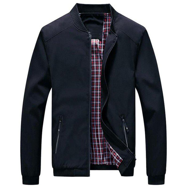 Shops Men's Solid Color Stand Collar Casual Jacket