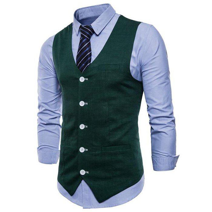 Trendy Plus Size Men Pure Color Cotton Suit Vest