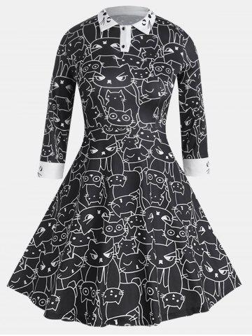 Long Sleeve Casual Fit Turn-down Collar Printing Dress