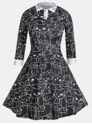 Long Sleeve Casual Fit Turn-down Collar Printing Dress -