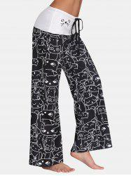 Trendy Mid Waist Cat Print Wide-leg Drawstring Long Pants -