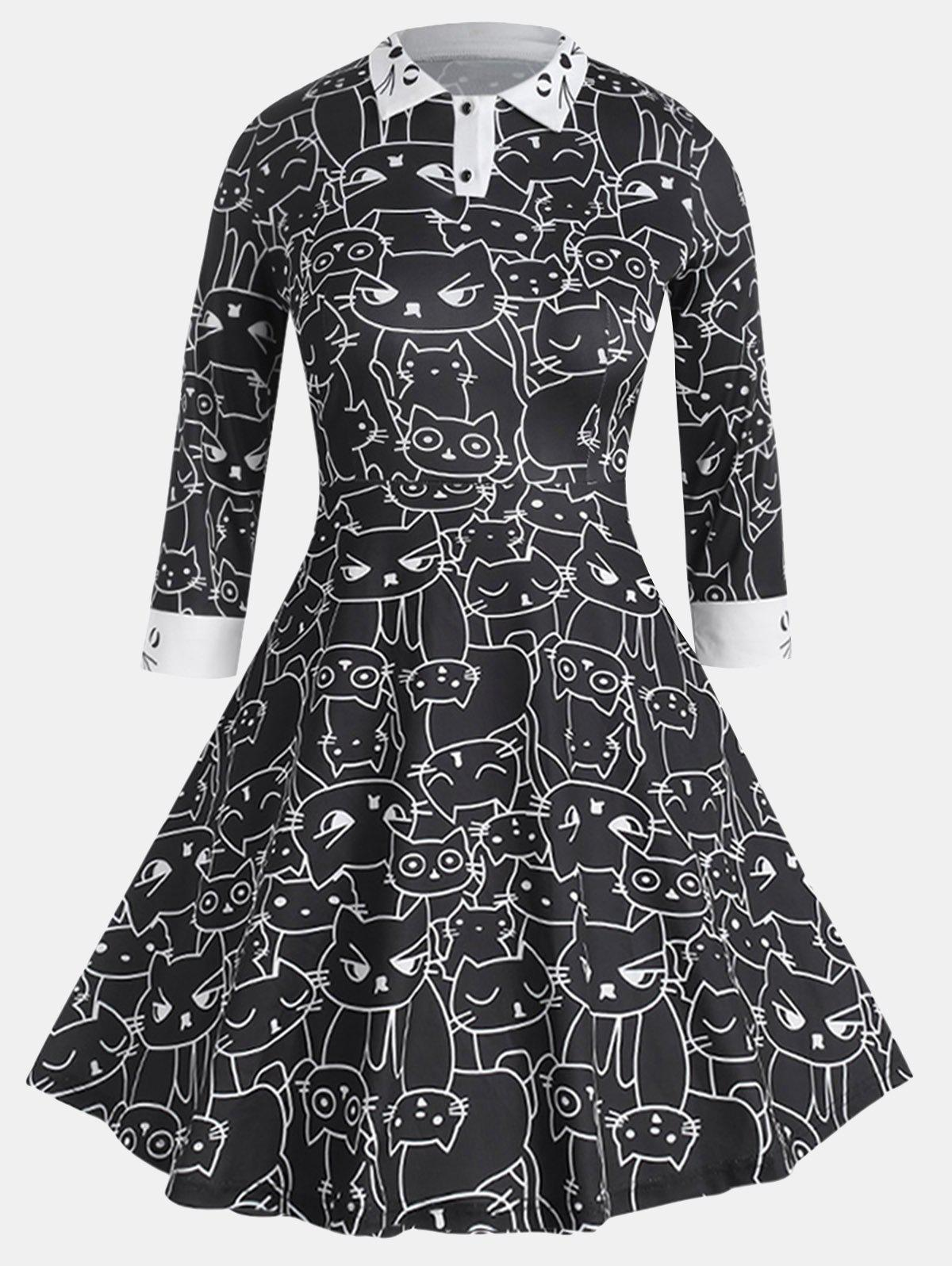 Fashion Long Sleeve Casual Fit Turn-down Collar Printing Dress