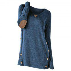 New Round Collar Long Sleeve Button Patch T-Shirt -
