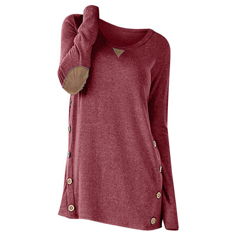 New New Round Collar Long Sleeve Button Patch T-Shirt