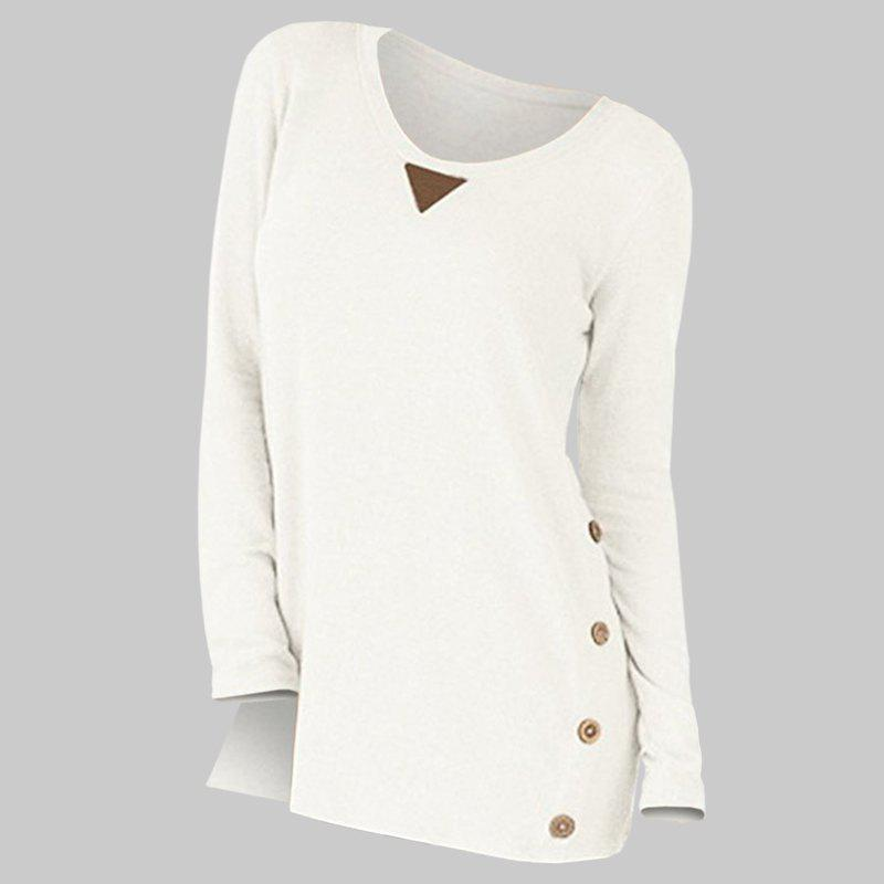 Shops New Round Collar Long Sleeve Button Patch T-Shirt