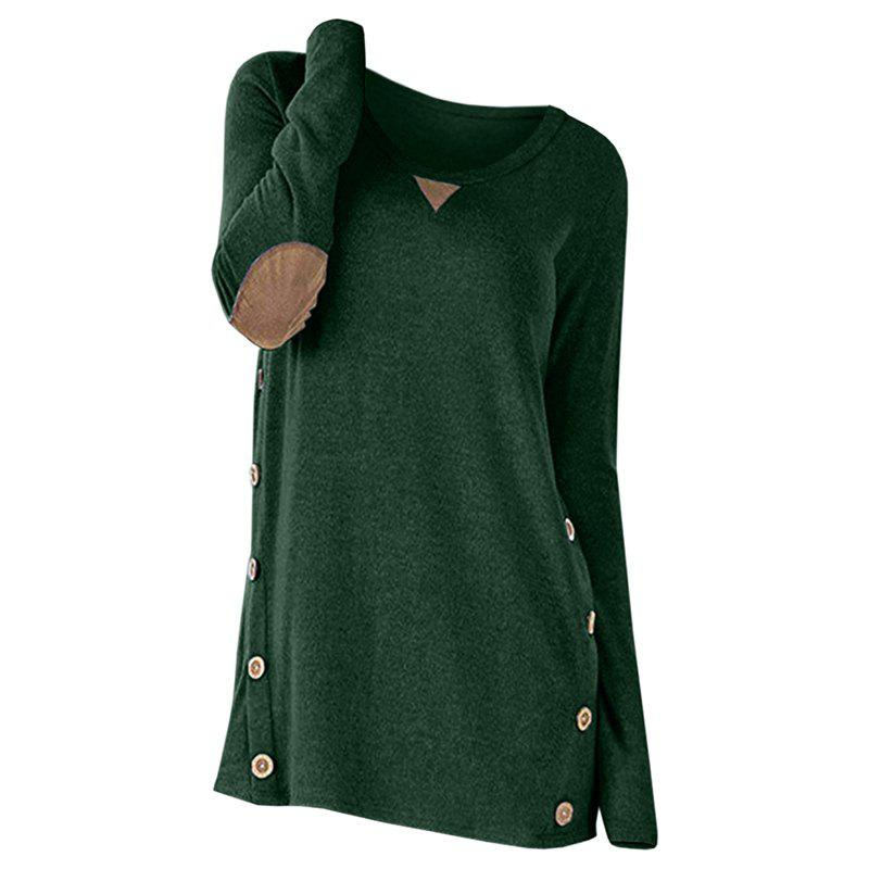 Trendy New Round Collar Long Sleeve Button Patch T-Shirt