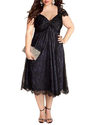 ae5a48d52c7  44% OFF  European And American Large Size Elegant Lace Stitching V-Neck  Gothic Dress
