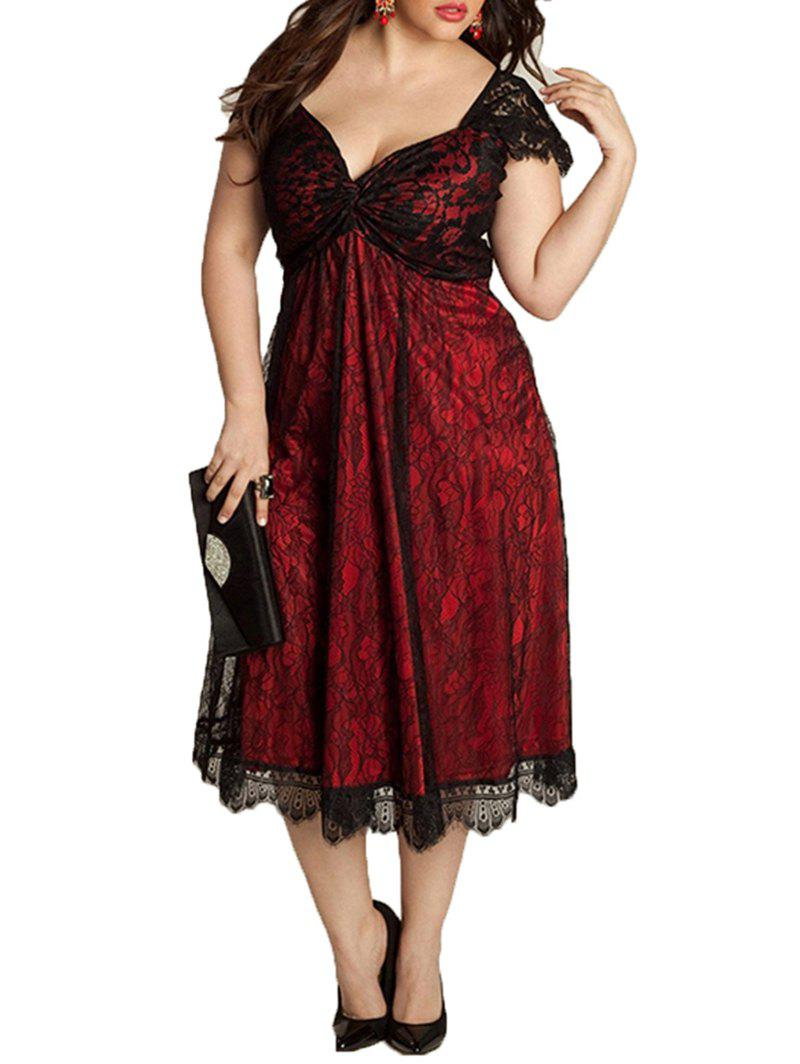 Fancy European and American Large Size Elegant Lace Stitching V-Neck Gothic Dress