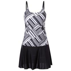 Spaghetti Strap Backless Padded Stripe Print Mid Waist Women Tankini Set -