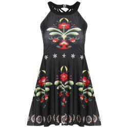 Halter Neck Padded Floral Print Strappy Mid Waist Two-piece Women Tankini Set -