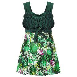 Shoulder Strap Backless Padded Ruffle Leaf Print Mid Waist Two Piece Women Tankini Set -