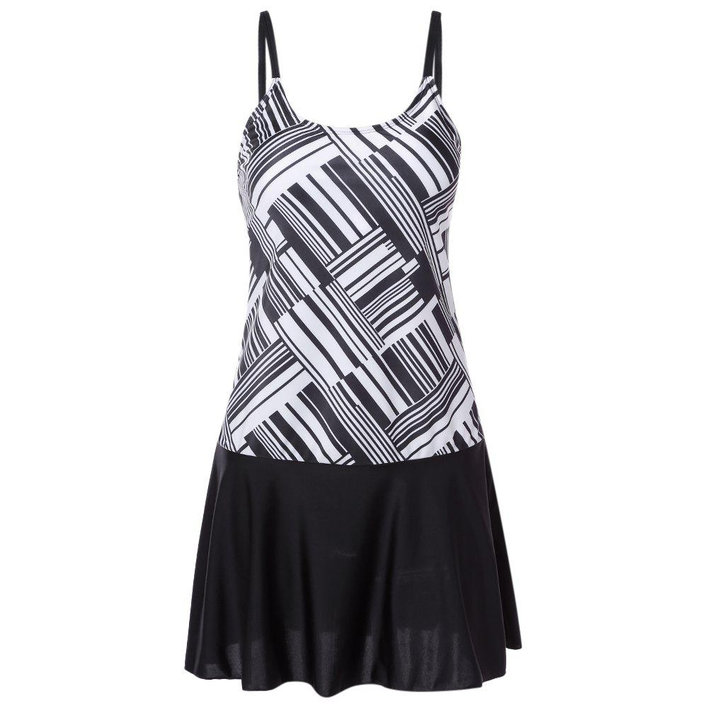 Best Spaghetti Strap Backless Padded Stripe Print Mid Waist Women Tankini Set