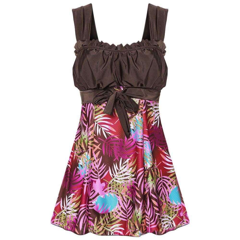 Outfit Shoulder Strap Backless Padded Ruffle Leaf Print Mid Waist Two Piece Women Tankini Set