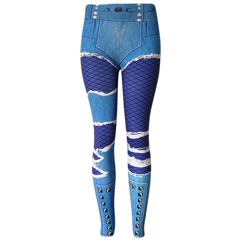 Outfits Mid Waist Skinny Elastic Stimulated Jeans Print Leggings Women Pants