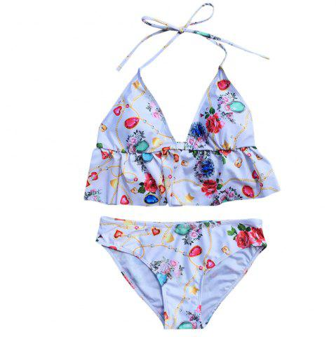 Halter Neck Backless Padded Print Ruffle Low Waist Women Bikini Set