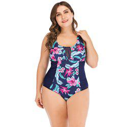 Sexy Floral Print Spliced Mesh Sleeveless Padded Wire Free Plus Size Women Swimsuit -