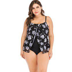 Sexy Spaghetti Strap Floral Mesh Overlay Padded Plus Size Women Swimsuit -