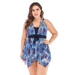 Plus Size Print Tankini Faux Two Halter Women Swimsuit -