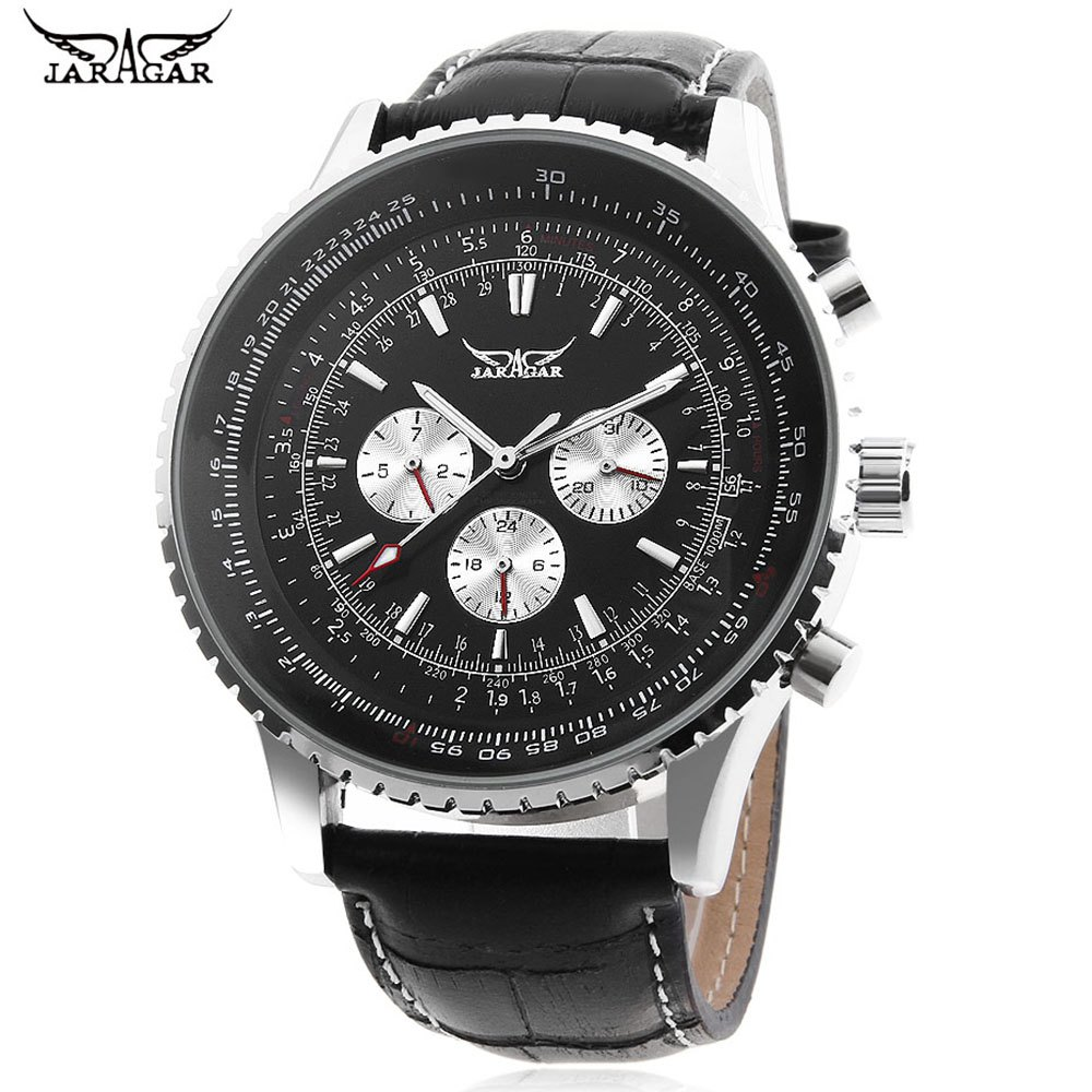 Store JARAGAR F120561 Male Automatic Mechanical Watch Date Day 24 Hour Display Genuine Leather Strap Wristwatch