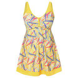 Sexy Shoulder Strap Sleeveless Colorful Print Ruched Padded Plus Size Women Tankini Set -