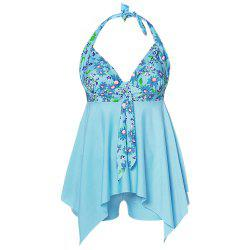 Plus Size Floral Print Halter Ruffles Board-shorts Two Pieces Women Swimwear -