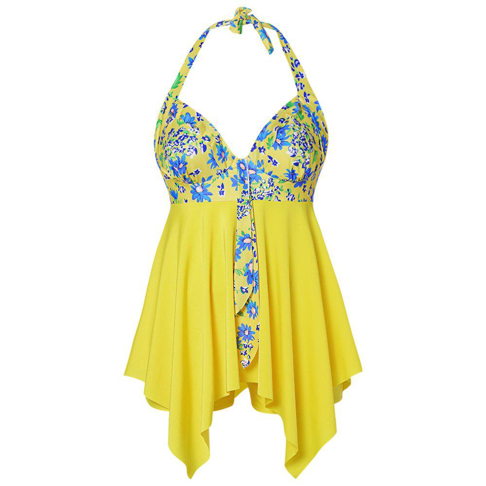 New Plus Size Floral Print Halter Ruffles Board-shorts Two Pieces Women Swimwear