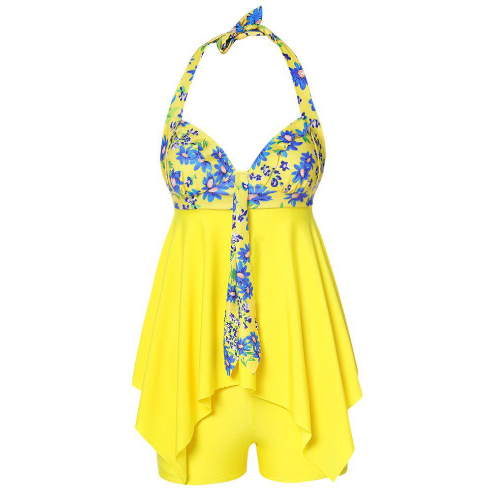 e70b1ffb50e Affordable Halter Neck Floral Print Padded Handkerchief Knotted Mid Waist  Women Tankini Set