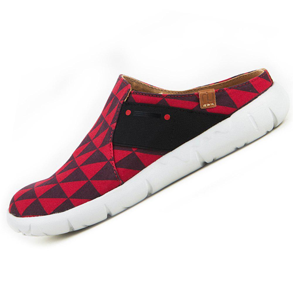 Fancy UIN Women's Black and Red Painted Canvas Slip-On Fashion Travel Art Casual Shoes