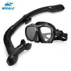 WHALE MK2600 + SK900 Professional Adult Diving Silicone Mask Glasses Snorkel Set -