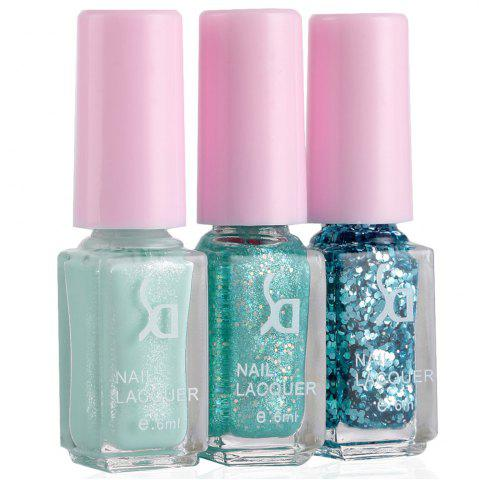 Fashion Fashion Magic Candy 3 Colors Gradient Nontoxic Gel Nail Polish Set GREEN 04