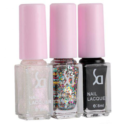 Online Fashion Magic Candy 3 Colors Gradient Nontoxic Gel Nail Polish Set - 11 WHITE AND BLACK Mobile
