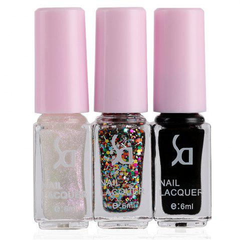 Fashion Magic Candy 3 Colors Gradient Nontoxic Gel Nail Polish Set - White And Black - 11
