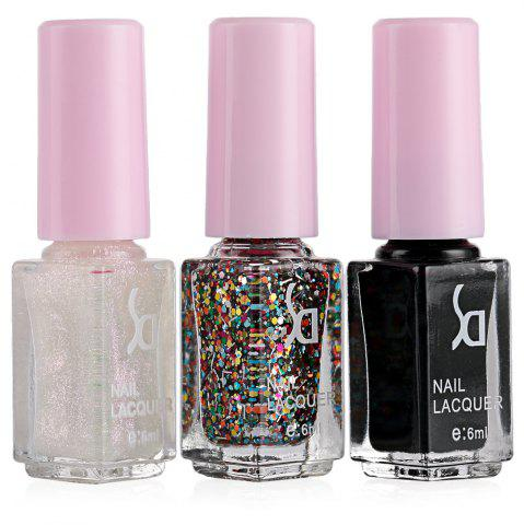 Outfits Fashion Magic Candy 3 Colors Gradient Nontoxic Gel Nail Polish Set - 11 WHITE AND BLACK Mobile