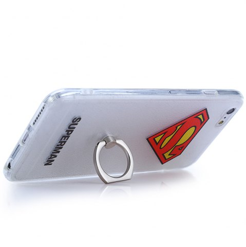 Fancy Super Man PVC Material Protective Back Case with Ring Stand for iPhone 6 Plus / 6S Plus - TRANSPARENT  Mobile