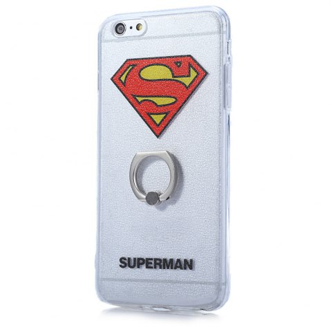 Discount Super Man PVC Material Protective Back Case with Ring Stand for iPhone 6 Plus / 6S Plus - TRANSPARENT  Mobile