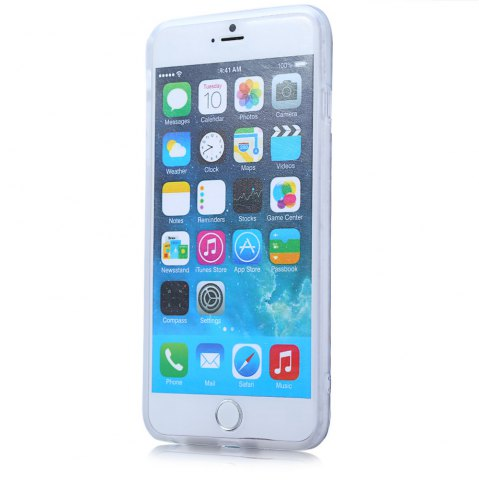 Affordable Super Man PVC Material Protective Back Case with Ring Stand for iPhone 6 Plus / 6S Plus - TRANSPARENT  Mobile