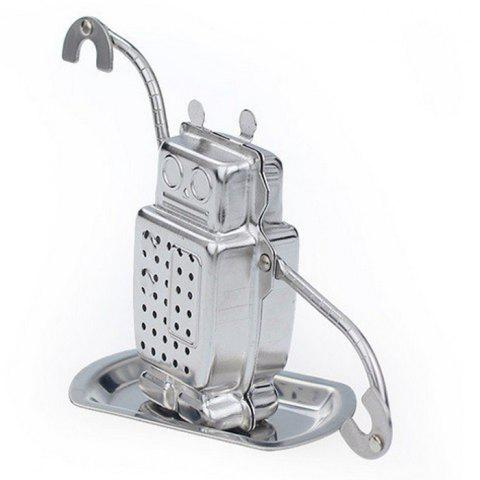 Hot Stainless Steel Robot Shape Tea Filter Creative Teabags Strainer - SILVER  Mobile