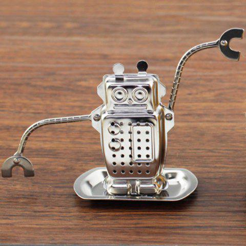 Store Stainless Steel Robot Shape Tea Filter Creative Teabags Strainer - SILVER  Mobile