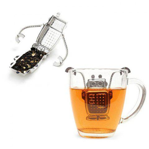 Latest Stainless Steel Robot Shape Tea Filter Creative Teabags Strainer - SILVER  Mobile