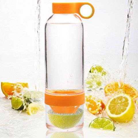 Discount Portable Plastic Lemon Bottle Water Cup - 830ml ORANGE