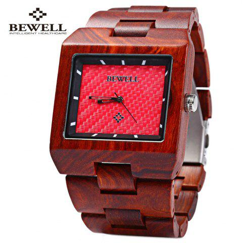 Fashion Bewell ZS - W016A Male Quartz Watch Rectangle Dial Wooden Band Hollow-out Pointer Wristwatch