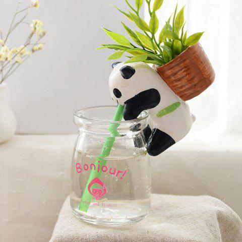 Outfits Creative Panda Style Mini Potted Plants Self-watering Small Ceramic Pot Culture - PANDA STYLE WHITE AND BLACK Mobile