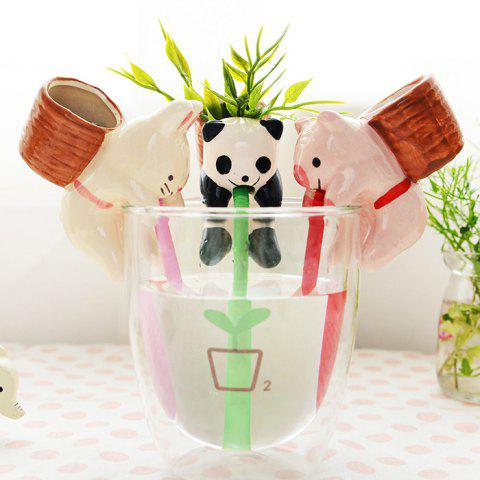 Best Creative Panda Style Mini Potted Plants Self-watering Small Ceramic Pot Culture - PANDA STYLE WHITE AND BLACK Mobile