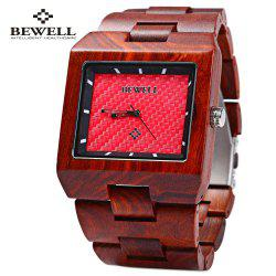 Bewell ZS - W016A Male Quartz Watch Rectangle Dial Wooden Band Hollow-out Pointer Wristwatch -