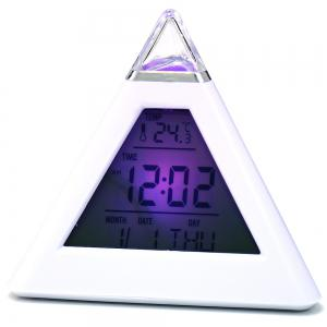 Pyramid Style Color Changing LED Digital Alarm Clock Thermometer Mode Calendar Display - WHITE