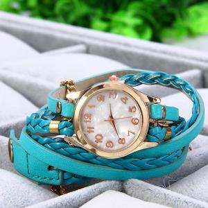 Women Vintage Weave Wrap Leather Bracelet Wrist Watch - LAKE BLUE