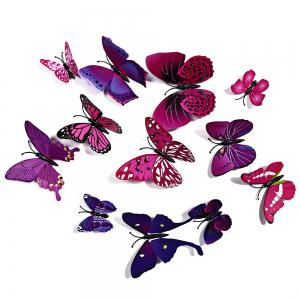 12 pcs 3D Butterfly Wall Stickers Art Decor Decals - Purple - 60*90cm