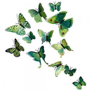 12 pcs 3D Butterfly Wall Stickers Art Decor Decals - GREEN