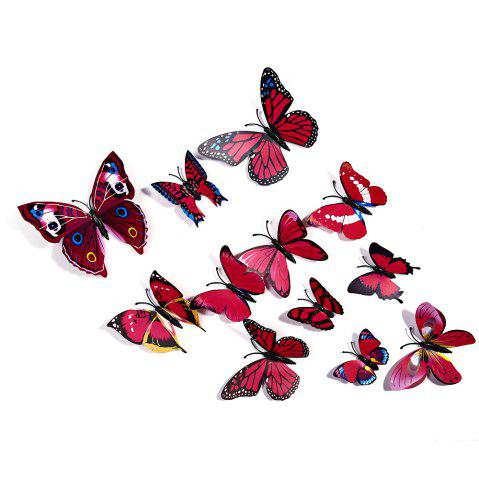 12 pcs 3D Butterfly Wall Stickers Art Decor Decals - ROSE